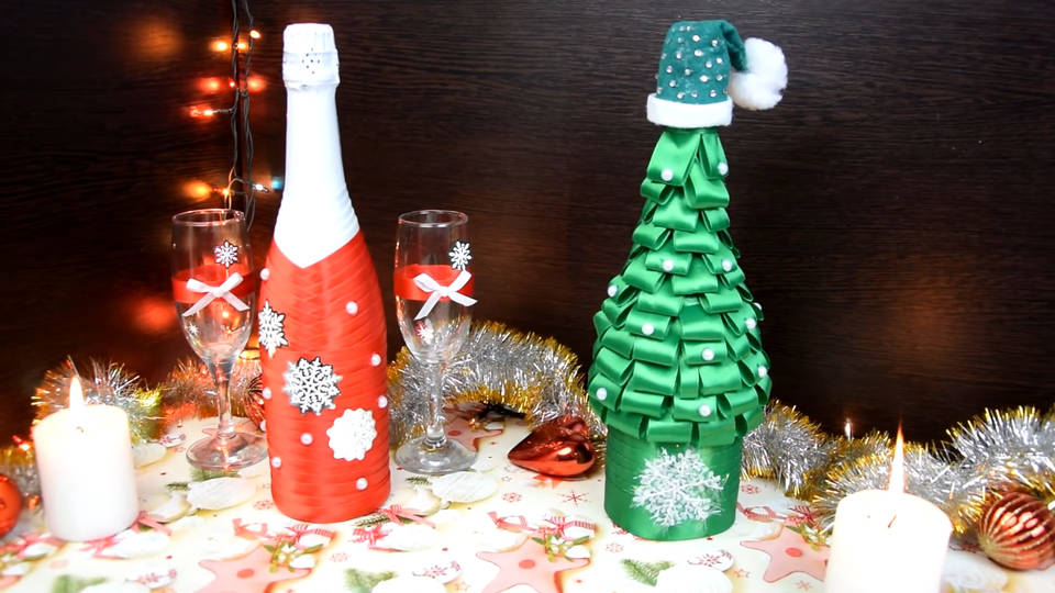 Украшение бутылки шампанского или вина своими руками на Новый год